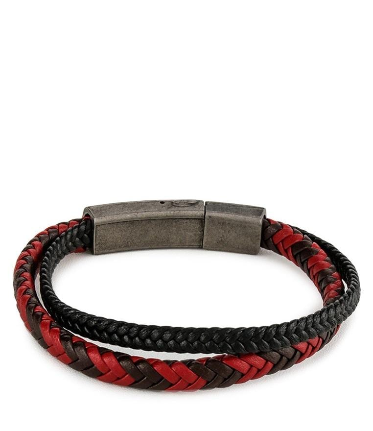 Two-Layer Braided Leather Bracelet - Black Red Bracelets - Urban State Indonesia
