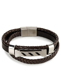 Multi-Layer Braided Striped Leather Bracelet - Brown Bracelets - Urban State Indonesia