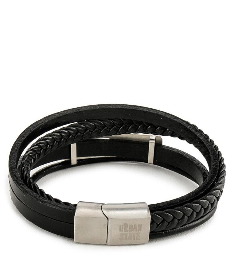 Multi-Layer Braided Checker Leather Bracelet - Black Bracelets - Urban State Indonesia