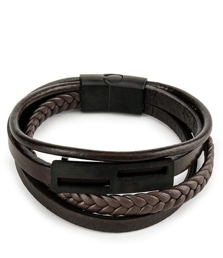 Multi-Layer Braided Checker Leather Bracelet - Brown Bracelets - Urban State Indonesia