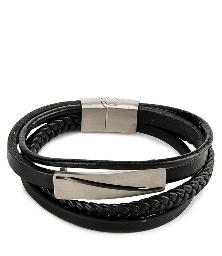 Multi-Layer Braided Plate Leather Bracelet - Black Bracelets - Urban State Indonesia