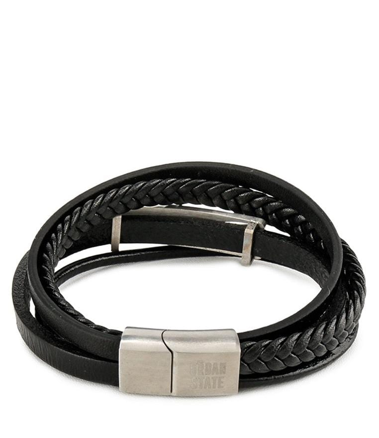Multi-Layer Braided Plate Leather Bracelet - Black