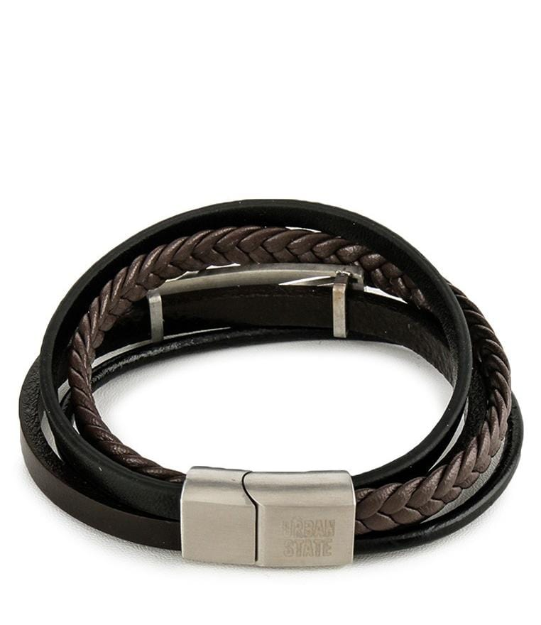 Multi-Layer Braided Plate Leather Bracelet - Black Brown Bracelets - Urban State Indonesia