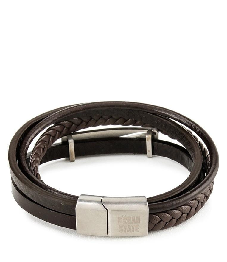 Multi-Layer Braided Plate Leather Bracelet - Brown Bracelets - Urban State Indonesia