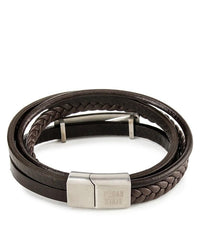Multi-Layer Braided Plate Leather Bracelet - Brown