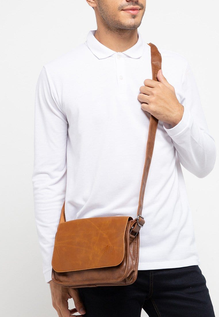 Distressed Leather Flap Shoulder Bag - Camel Messenger Bags - Urban State Indonesia
