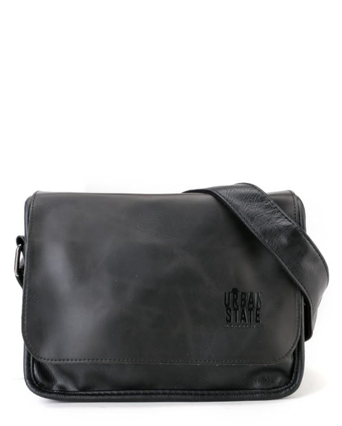 Distressed Leather Flap Shoulder Bag - Black Messenger Bags - Urban State Indonesia