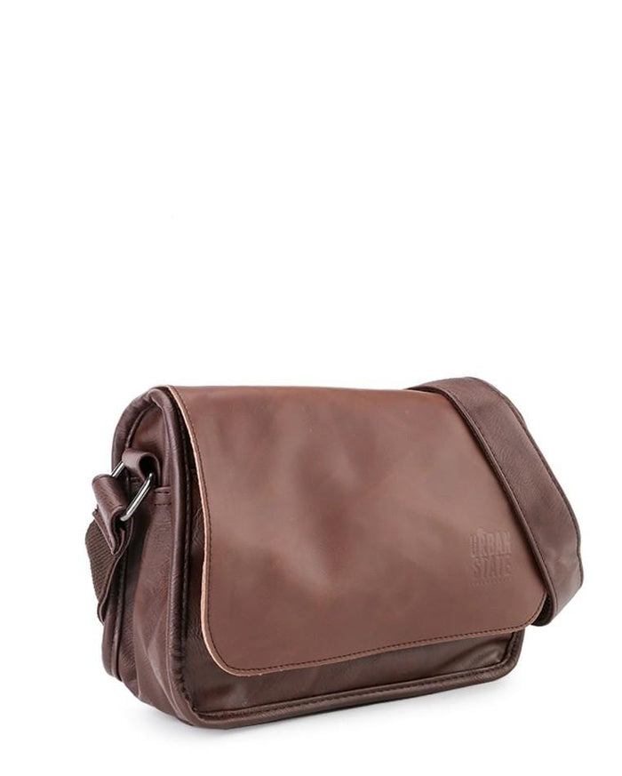 Distressed Leather Flap Shoulder Bag - Dark Brown Messenger Bags - Urban State Indonesia