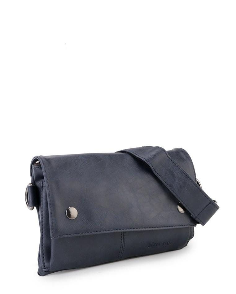 Distressed Leather Nomad Pouch Clutch - Navy Clutch - Urban State Indonesia