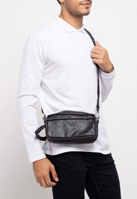 Distressed Leather Flight Crossbody Pouch - Black Clutch - Urban State Indonesia