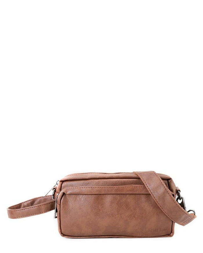Distressed Leather Flight Crossbody Pouch - Camel Clutch - Urban State Indonesia