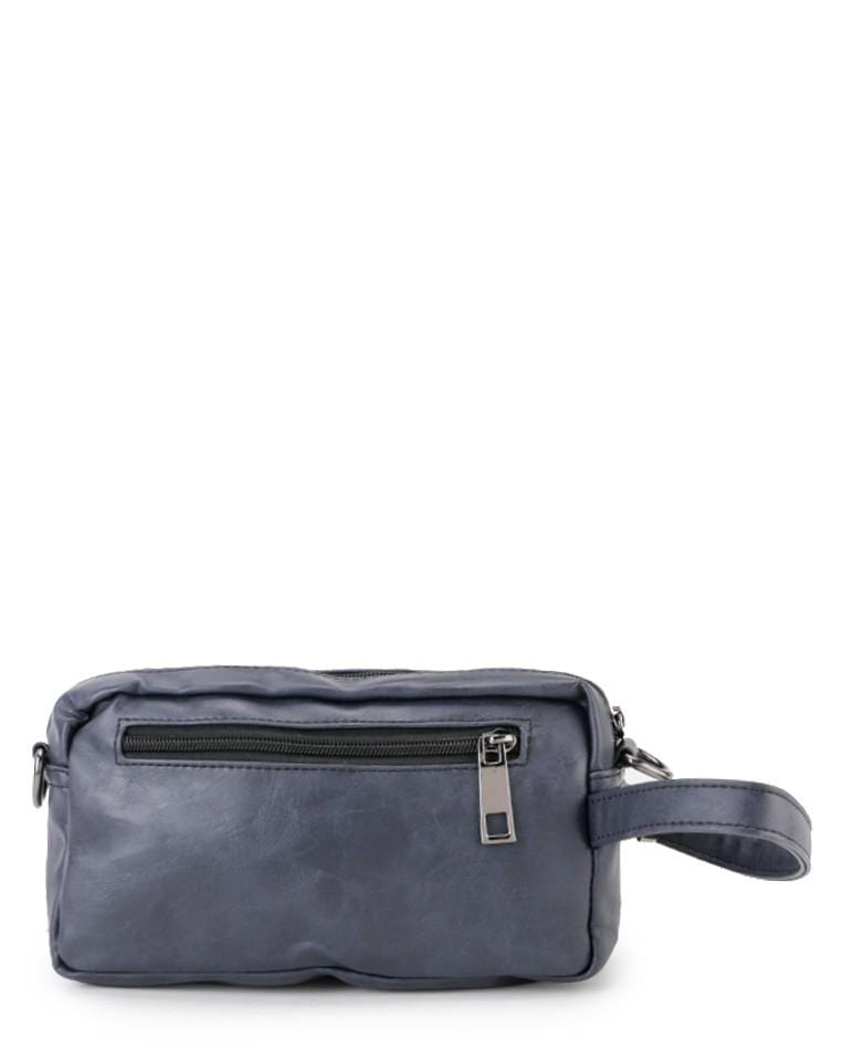 Distressed Leather Flight Crossbody Pouch - Navy Clutch - Urban State Indonesia