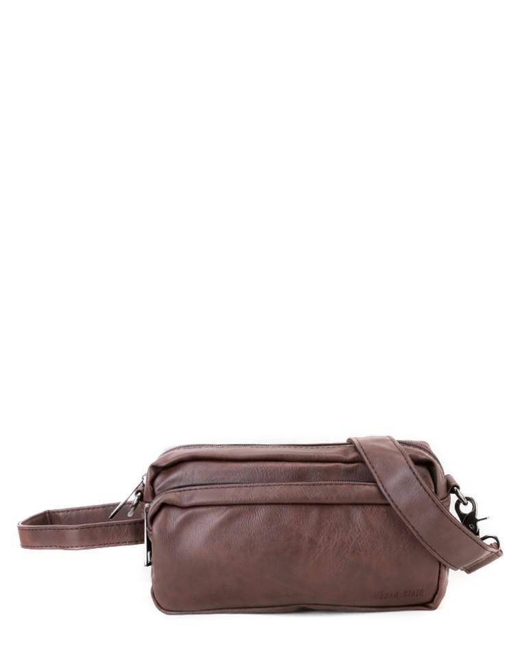 Distressed Leather Flight Crossbody Pouch - Dark Brown Clutch - Urban State Indonesia