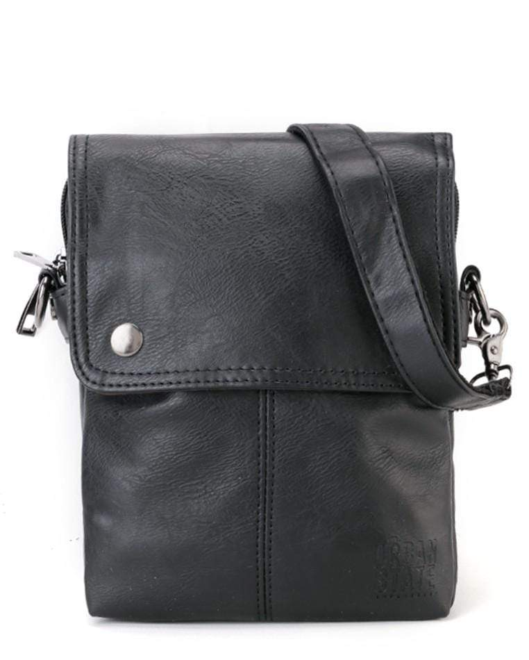Distressed Leather Nomad Crossbody Pouch - Black Clutch - Urban State Indonesia
