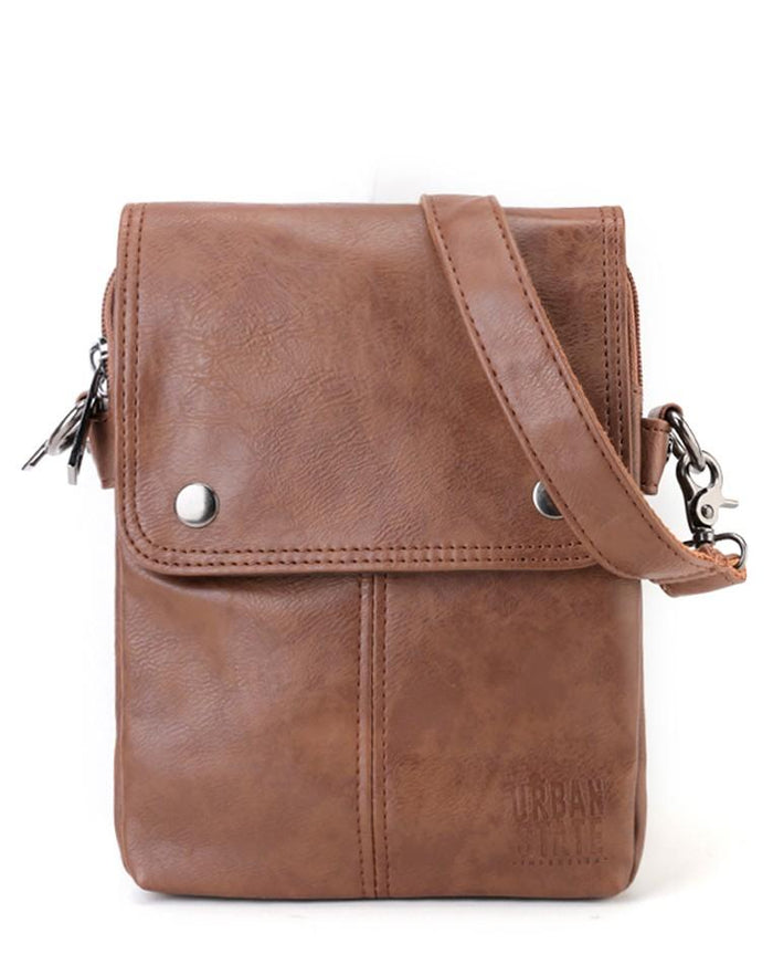 Distressed Leather Nomad Crossbody Pouch - Camel Clutch - Urban State Indonesia