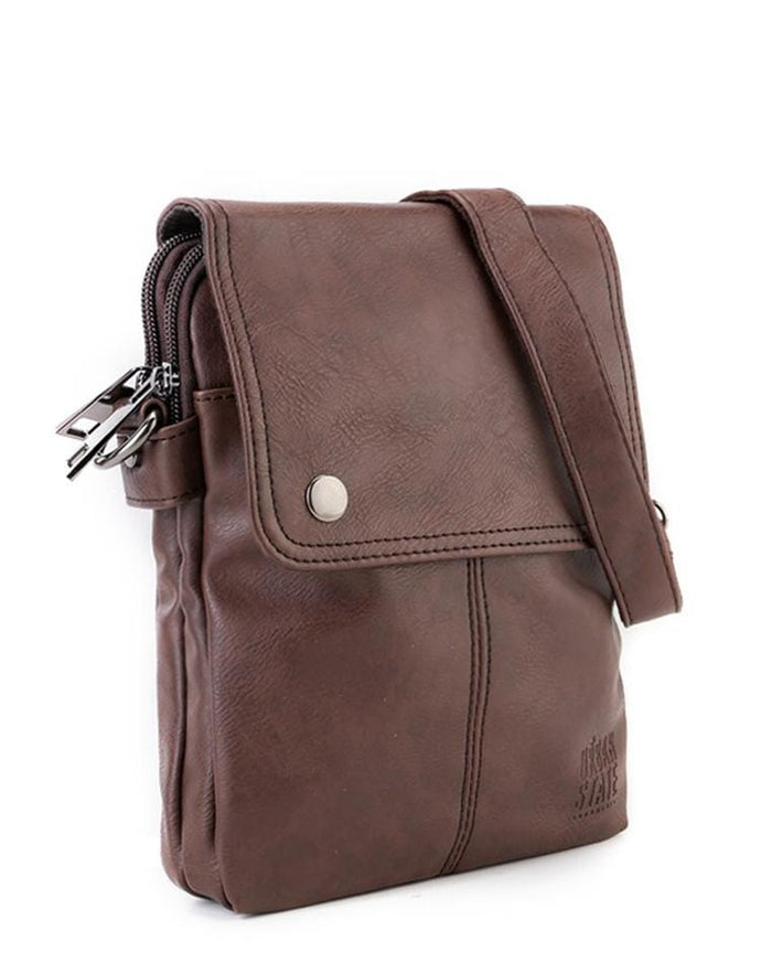 Distressed Leather Nomad Crossbody Pouch - Dark Brown Clutch - Urban State Indonesia