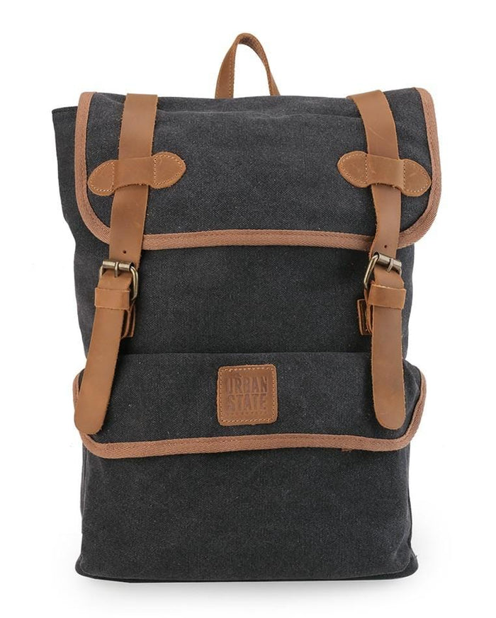 Canvas Top Grain Panel Backpack - Black Backpacks - Urban State Indonesia