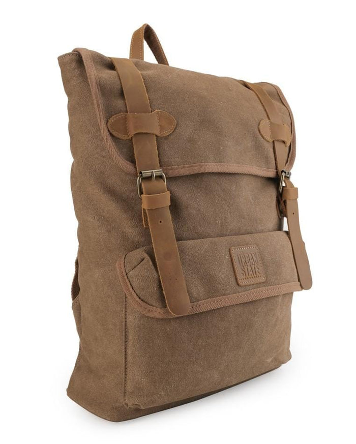 Canvas Top Grain Panel Backpack - Camel Backpacks - Urban State Indonesia