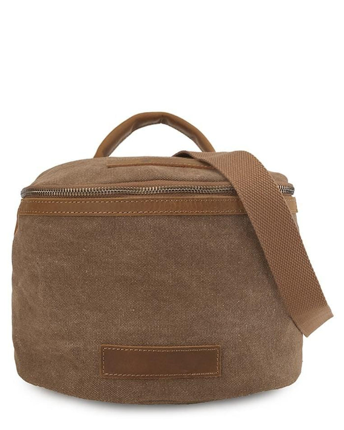 Canvas Top Grain Zip Bucket Crossbody Bag - Camel Messenger Bags - Urban State Indonesia