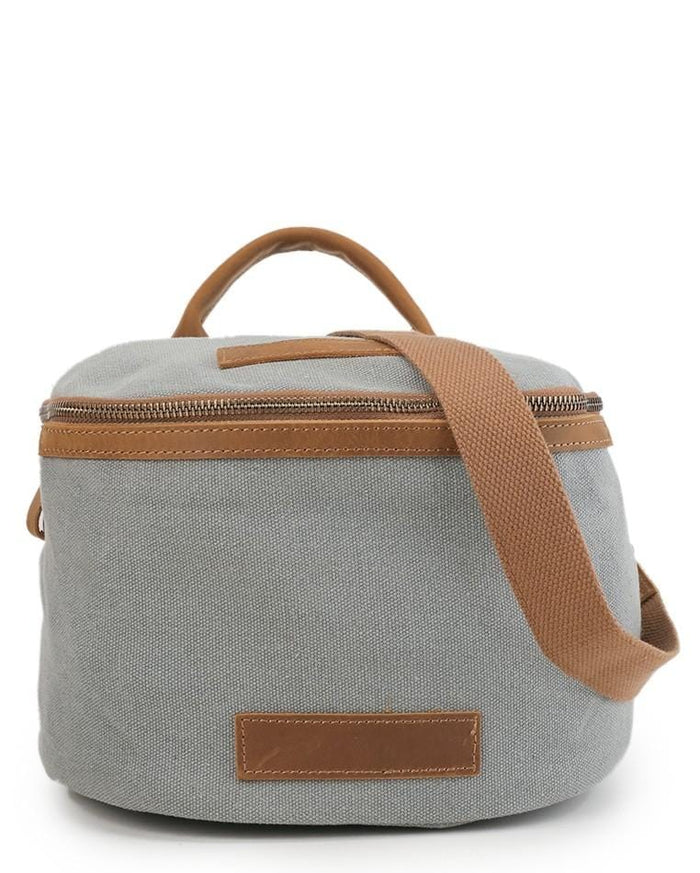 Canvas Top Grain Zip Bucket Crossbody Bag - Light Grey Messenger Bags - Urban State Indonesia
