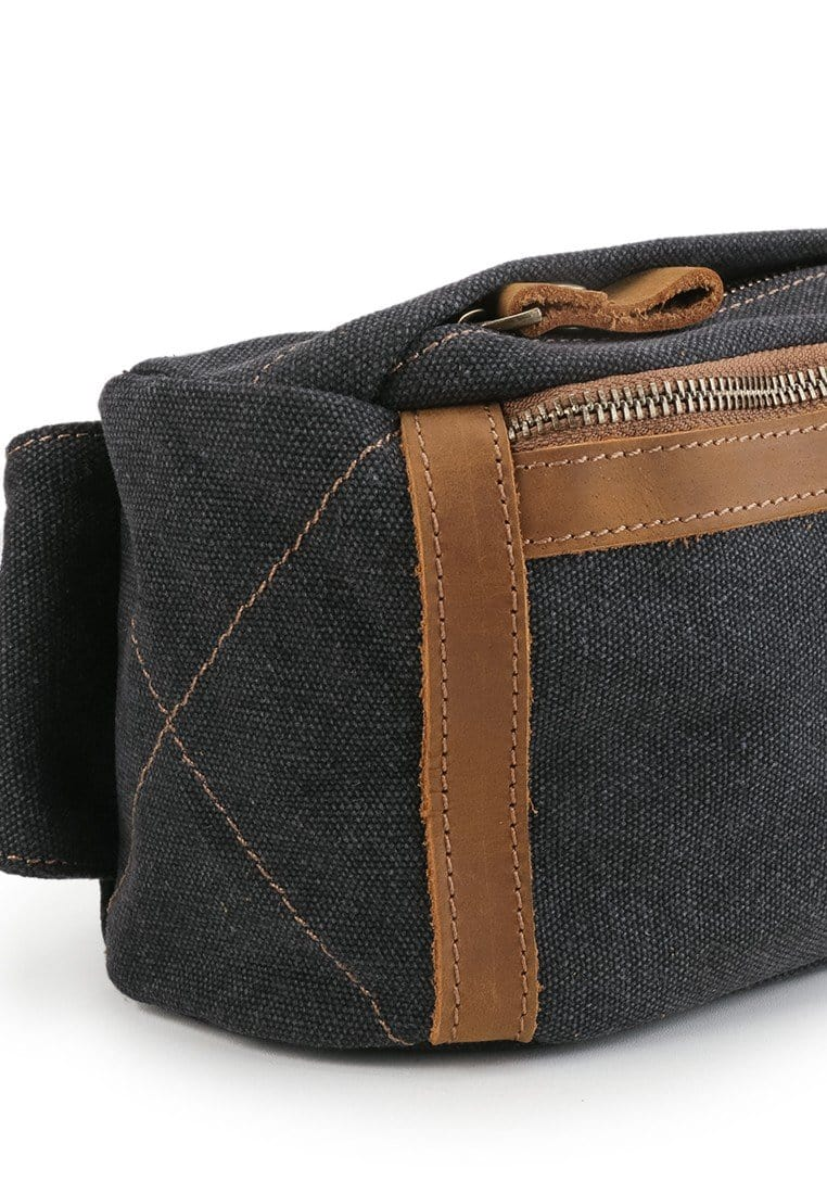 Canvas Top Grain Panel Waistpack - Black Waist Packs - Urban State Indonesia