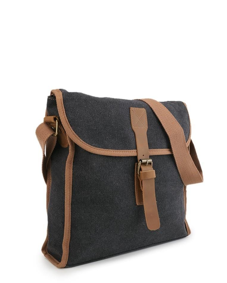 Canvas Top Grain Panel Messenger Bag - Black Messenger Bags - Urban State Indonesia