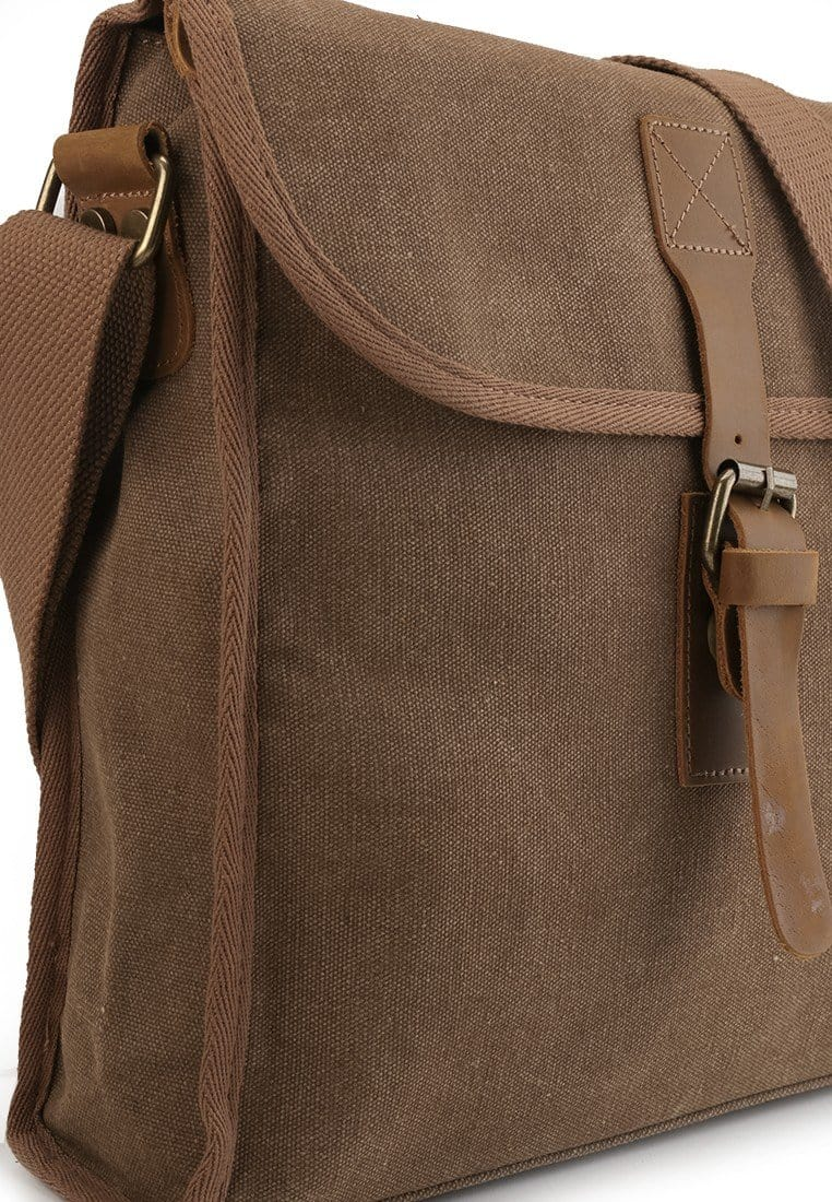 Canvas Top Grain Panel Messenger Bag - Camel Messenger Bags - Urban State Indonesia