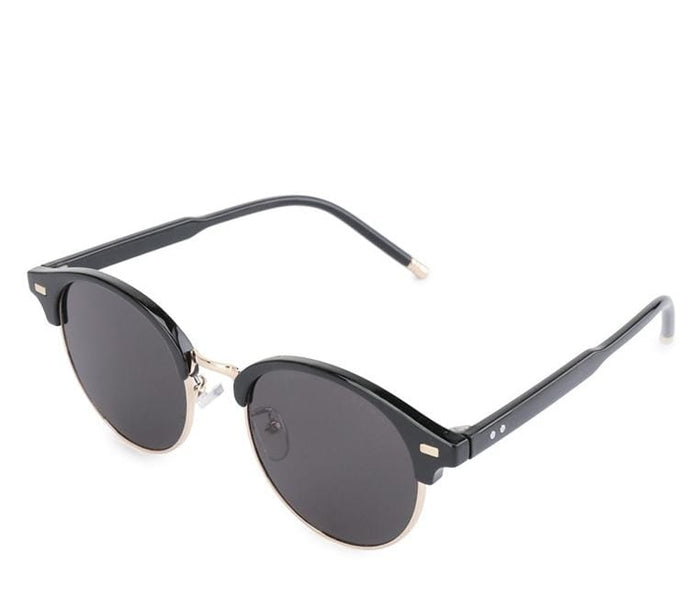 Vintage Retro Half Frame Sunglasses - Black Gold Sunglasses - Urban State Indonesia