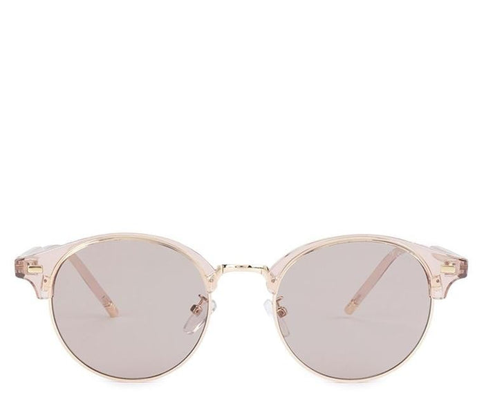 Vintage Retro Half Frame Sunglasses - Brown Rosegold Sunglasses - Urban State Indonesia