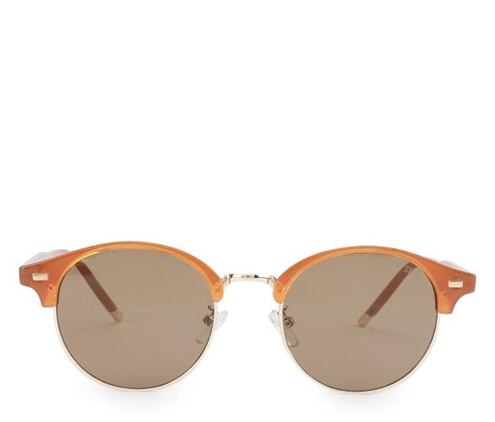 Vintage Retro Half Frame Sunglasses - Brown Gold Sunglasses - Urban State Indonesia