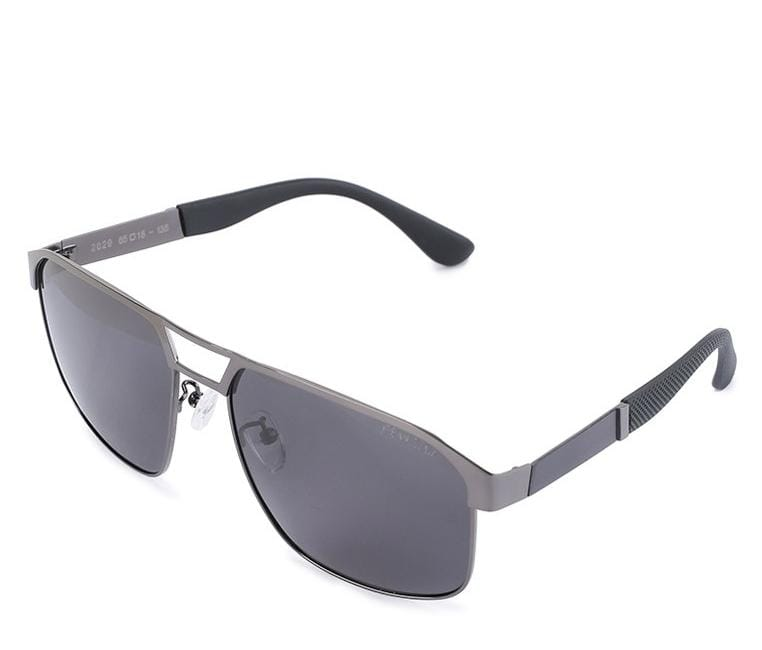 Polarized Edge Bar Rectangular Aviator Sunglasses - Black Silver Sunglasses - Urban State Indonesia