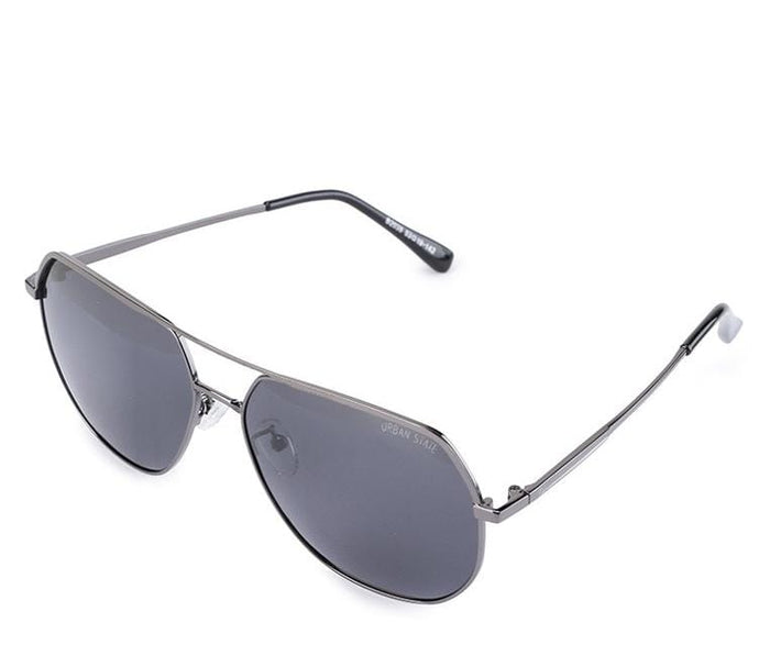 Polarized Edge Bar Oval Aviator Sunglasses - Black Silver Sunglasses - Urban State Indonesia