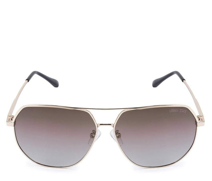 Polarized Edge Bar Oval Aviator Sunglasses - Brown Gold Sunglasses - Urban State Indonesia