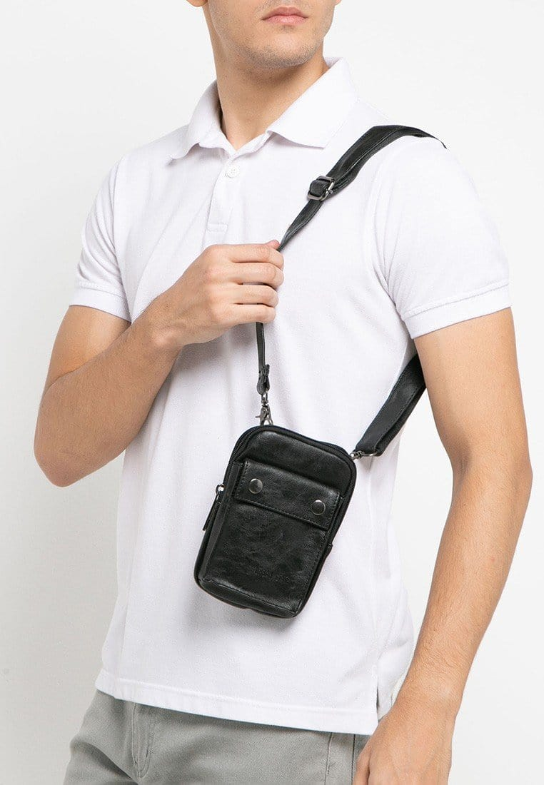Pu Pocket Flap Waist Pouch - Black