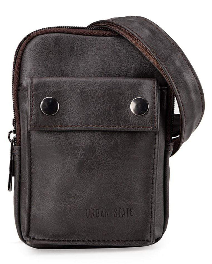 Pu Pocket Flap Waist Pouch - Brown Waist Packs - Urban State Indonesia