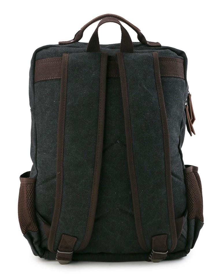 Canvas PU Laptop Backpack - Black