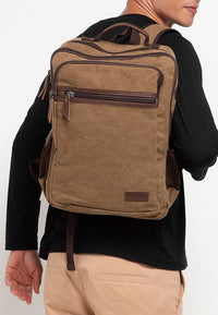 Canvas PU Laptop Backpack - Brown