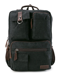 Canvas PU Pocket Backpack - Black