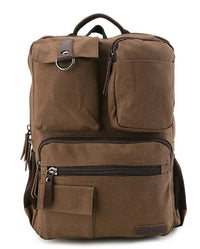 Canvas PU Pocket Backpack - Brown