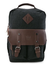 Canvas PU Utility Backpack - Black
