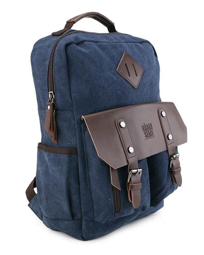 Canvas PU Utility Backpack - Navy