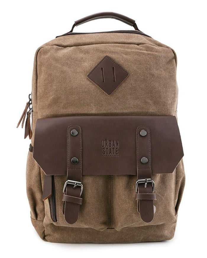 Canvas PU Utility Backpack - Brown