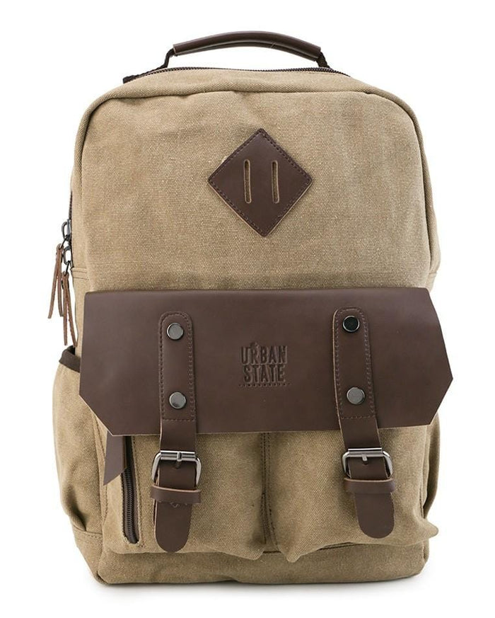 Canvas PU Utility Backpack - Khaki