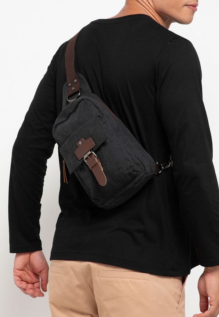 Canvas PU Explorer Slingbag - Black
