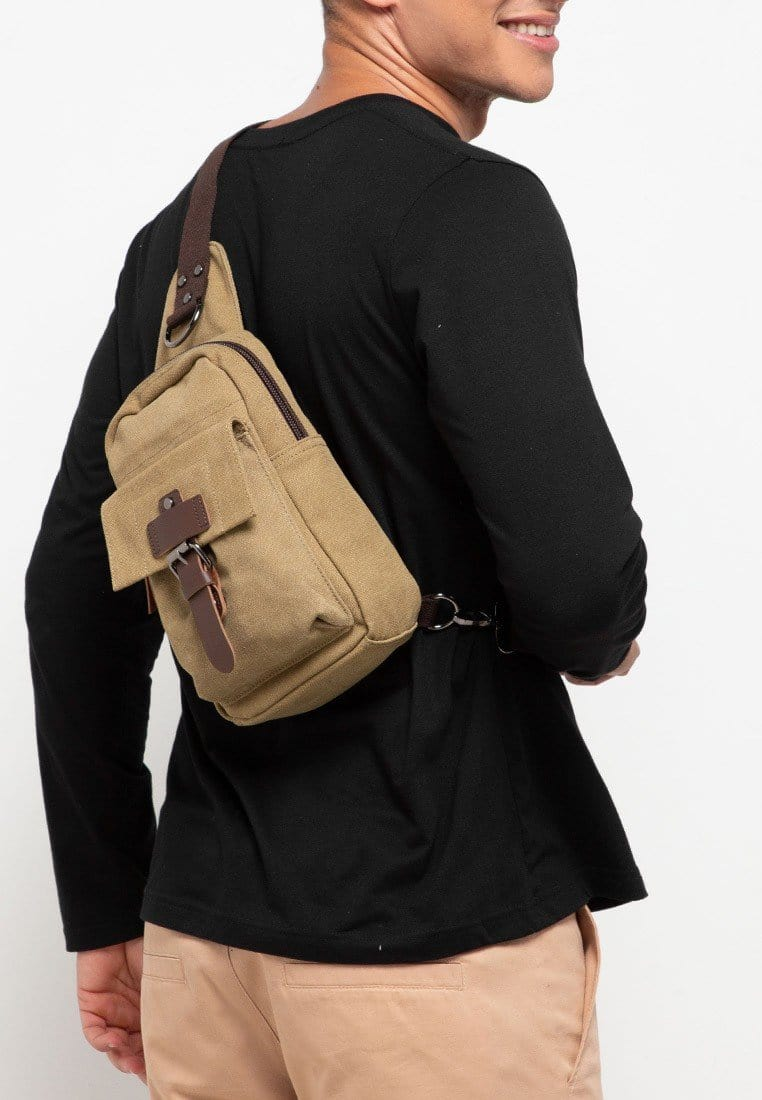 Canvas PU Explorer Slingbag - Khaki