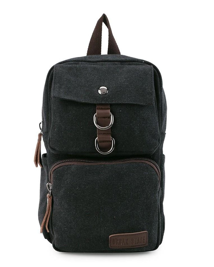Canvas PU Pocket Slingbag - Black