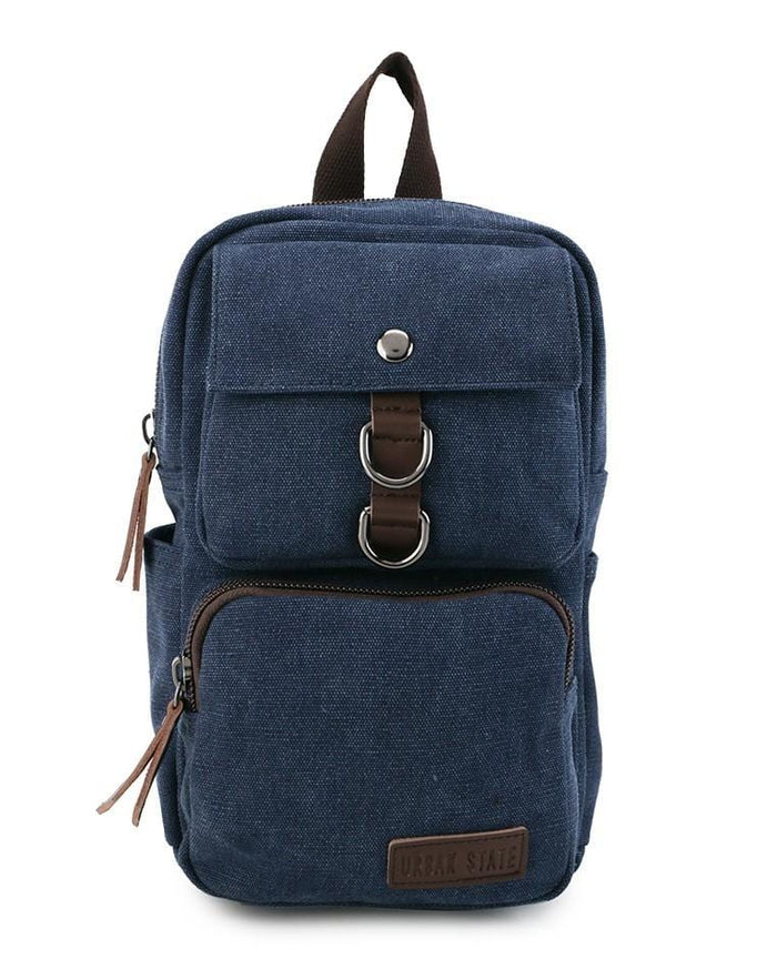 Canvas PU Pocket Slingbag - Navy