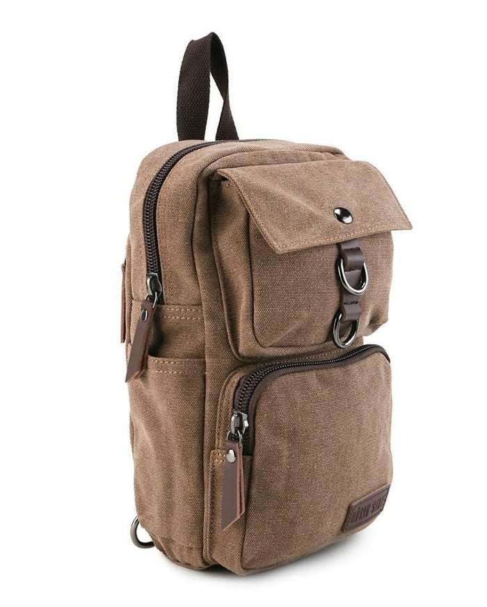 Canvas PU Pocket Slingbag - Brown