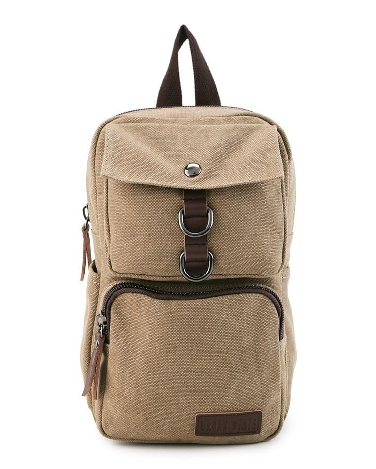 Canvas PU Pocket Slingbag - Khaki