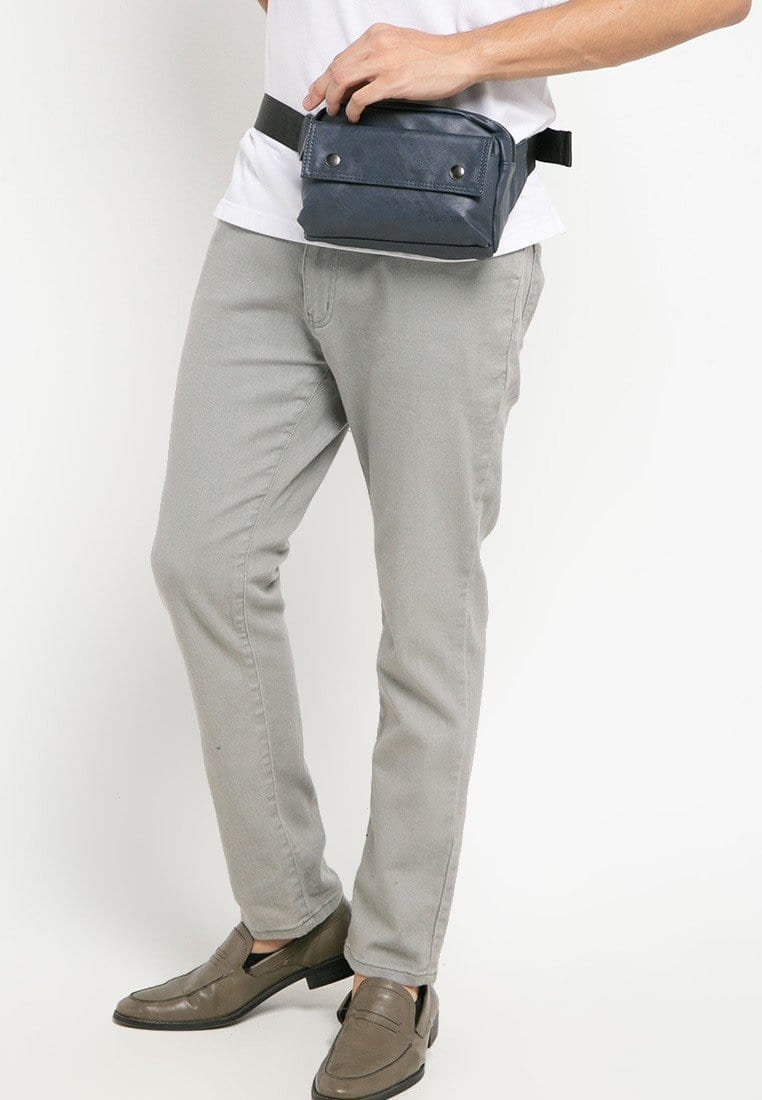 Pu Pocket Flap Waist Pack - Navy